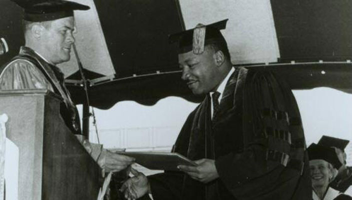 Hofstra University President Clifford Lord and the Board of Trustees invited the Rev. Dr. Martin Luther King, Jr. to receive an honorary degree and address the graduating class of 1965.