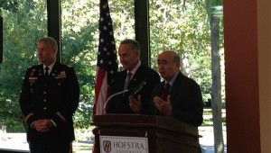 Sen. Schumer with LTC David Daniel and School of Education Dean Sean Fanelli