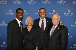 Tevon Hyman with President Barack Obama, Hofstra President Stuart Rabinowitz, and Mrs. Rabinowitz
