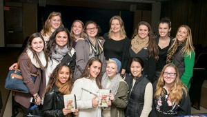 Students from Mount St. Dominic Academy in Caldwell, NJ, with Jennifer Egan.
