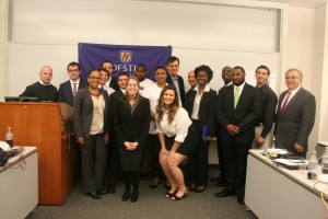 Students teams,mentors, Capital One executives, and Zarb faculty from the 2013 entrepreneural challenge.