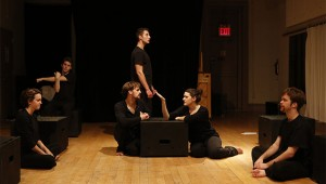 """Schaffer's fellow drama students, Max Baudisch, Stefanie Harris, Jesse Eberl, Anna Holmes, Ryan Molloy and Peter Previte, starred in the backer's audition of his work """"Life of the Theatre"""" last June. photo by Carol Rosegg"""
