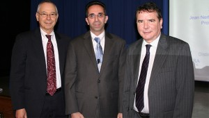(L to r) Provost Herman Berliner; Dr. Sina Rabbany, and Dean of the School of Engineering and Applied Science Simon Ben-Avi