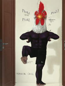 "Nyoman Masriadi's  ""Chicken Dance,"" 2010. On display at the Hofstra Univ. Museum. On loan from Private Collection Image courtesy of the artist and Paul Kasmin Gallery, NY"