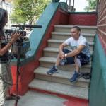 Indrani on set with camera