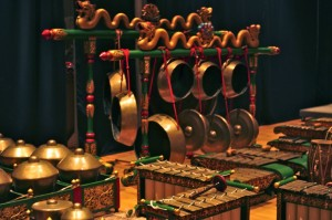 The Gamelan Kusuma Laras orchestra uses musical apparatus like this to perform classical Indonesian music.
