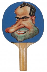Nixon Ping Pong Paddle, 1972 Ink on paper, rubber and wood, Hofstra University Libraries, Special Collections