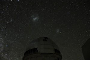 a night time photo we took of the Large Magellanic Cloud over the telescope dome with a DSLR camera on a tripod---the LMC is big fuzzy object on the left