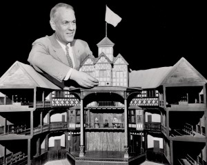 Dr. John Cranford Adams with his model of the Globe - currently on display in the lower level of the Playhouse.