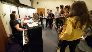 Sigma'cappella rehearsing at Monroe Lecture Center