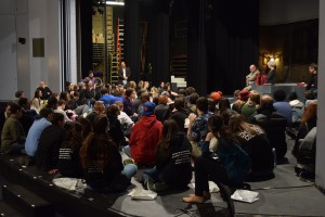 Students get feedback from Hofstra drama faculty on March 13.