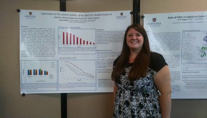 """""""My project is on alanine dehydrogenase and different enzyme mutations. """" – Lauren Walsh"""
