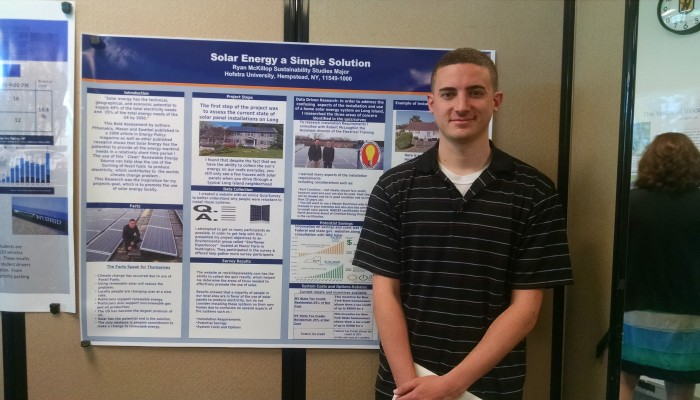 """""""You don't see a lot of houses using solar energy, so I created a website and gathered some information. I found that people have interest in solar energy lifestyles, but don't know how to get involved. It even saves money in the long run."""" – Ryan McKillop"""