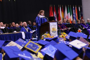 US Rep. Kathleen Rice addresses graduates on May 17.