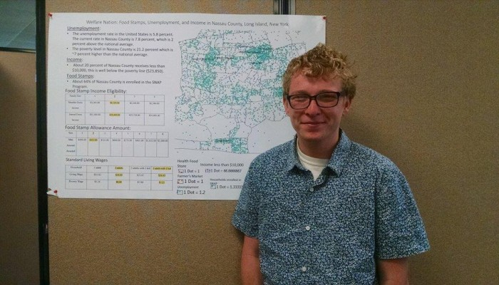 """""""My poster looks at unemployment, income level and food stamp usages in Nassau County. I compared the three overlapping factors with availability of health food stores and farmers markets, excluding Trader Joe's and Whole Foods."""" – Jakob Sacket"""