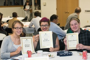 Madison Scheffer, Liana Coccobizzo and Richard Myers received certificates for taking the Putnam Exam.