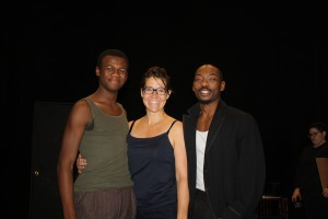 Isaiah Stanley, Kara-Lynn Vaeni and Lamar Cheston are bringing Topdog/Underdog to the stage this weekend for first-year students.