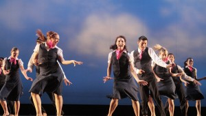 """Sarah (3rd from left) in """"Fly,"""" choreographed by Hofstra alum Larry Keigwin for the Fall 2009 Dance Concert."""