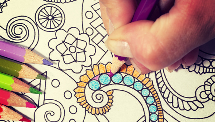 An image of a new trendy thing called adults coloring book.  In