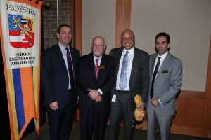 (L to r) Vice President of Development and Alumni Affairs Alan Kelly, Hofstra President Stuart Rabinowitz, Hofstra alumnus and trustee Thomas Sanzone, and SEAS Acting Dean Sina Rabbany