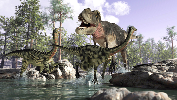 Photorealistic 3D scene of a Tyrannosaurus Rex, hunting two Gallimimus.