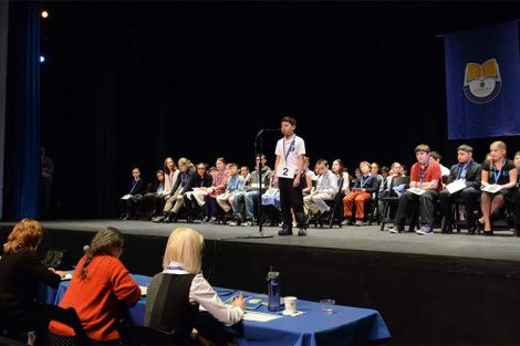 Long Island Scripps Regional Spelling Bee at Hofstra University on Sunday, Feb. 8, 2015 in Hempstead, N.Y.  Photographer: Kathy Kmonicek