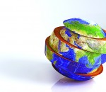 3d image of earth divided into slices