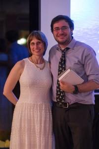 Chemistry Chair Sabrina Sobel with graduating senior Diego Prado.