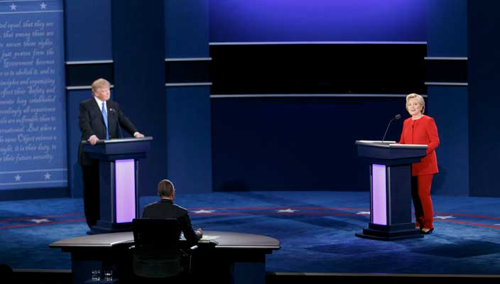 Donald Trump, Lester Holt & Hilary Clinton at the first 2016 Presidential Debate.