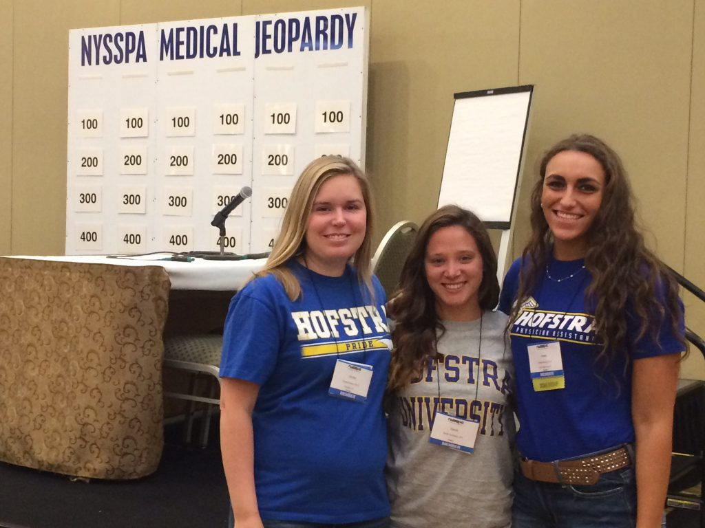 Hofstra Medical Jeopardy team members Jayme Kunze, Sarah Williams, and Jenna Razeq