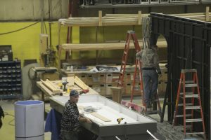 Construction on a piece of the Hofstra Globe Stage at Cigar Box Studios in Marlboro, NY.