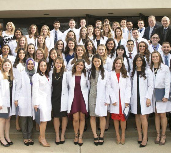 Hofstra Northwell PA students at their Dec. 2016 white coat ceremony / Jonathan Heisler
