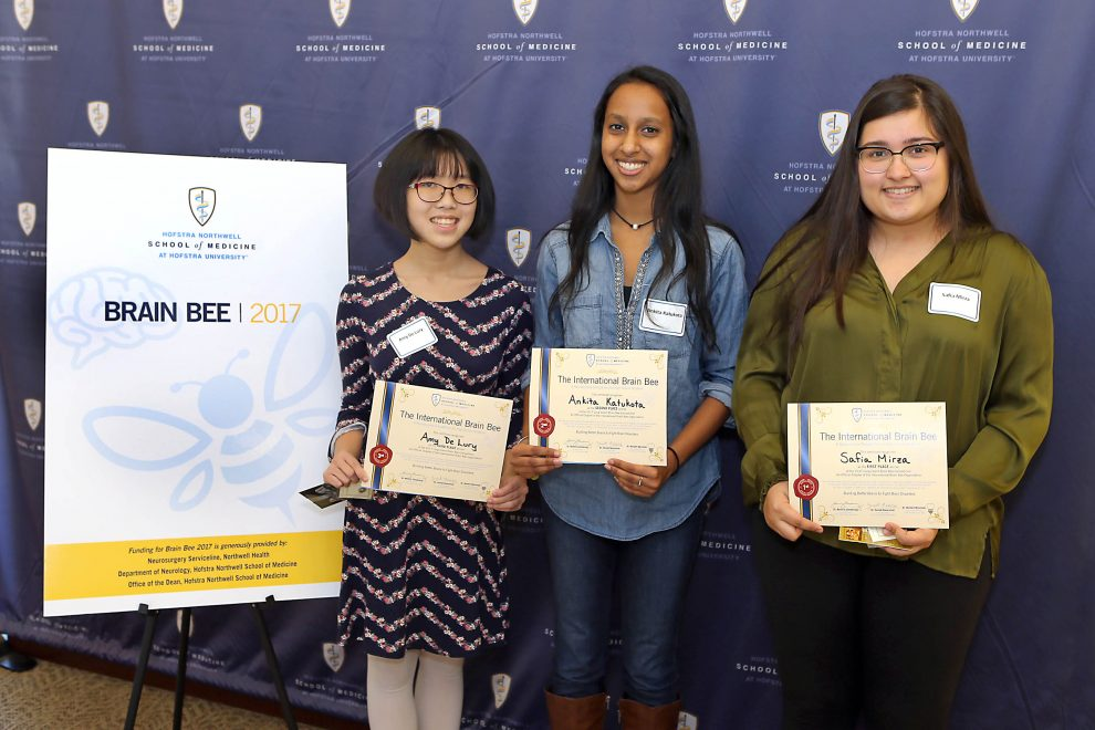 LI Brain Bee 2017 Top 3 (L to R): Amy De Lury,  Ankita Katukota and Safia Mirza.