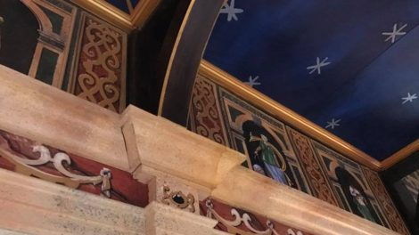 """A sneak peak at the new Hofstra Globe Stage. The ornate ceiling is called the """"Heavens."""""""