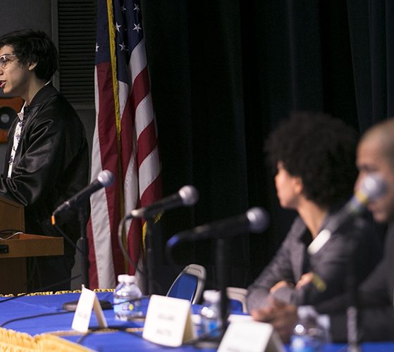 """Ian Guzman introduces the round-table for """"Central American Child Migrants in Nassau County"""""""