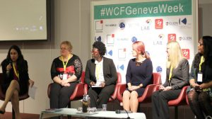 Kara Alaimo (left) on a panel at the 2017 World Communication Forum.