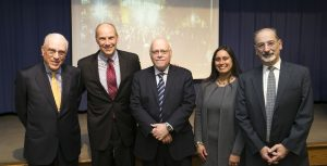 L to r: Trustee Peter Kalikow, Phil Schiliro, Hofstra President Stuart Rabinowitz, Executive Dean of the Kalikow School Meena Bose, and HCLAS Dean Bernard Firestone.