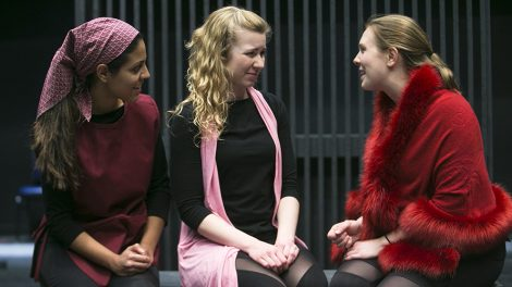 "A Scene from ""This Bud of Love"" - Mikaeli Cruz (Nurse), Claire Malkie (Lady Capulet/Benvolio)  and Laura Erle (Juliet). Photo by Jonathan Heisler."