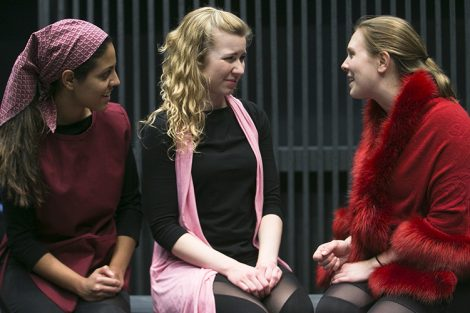 """A Scene from """"This Bud of Love"""" - Mikaeli Cruz (Nurse), Claire Malkie (Lady Capulet/Benvolio)  and Laura Erle (Juliet). Photo by Jonathan Heisler."""