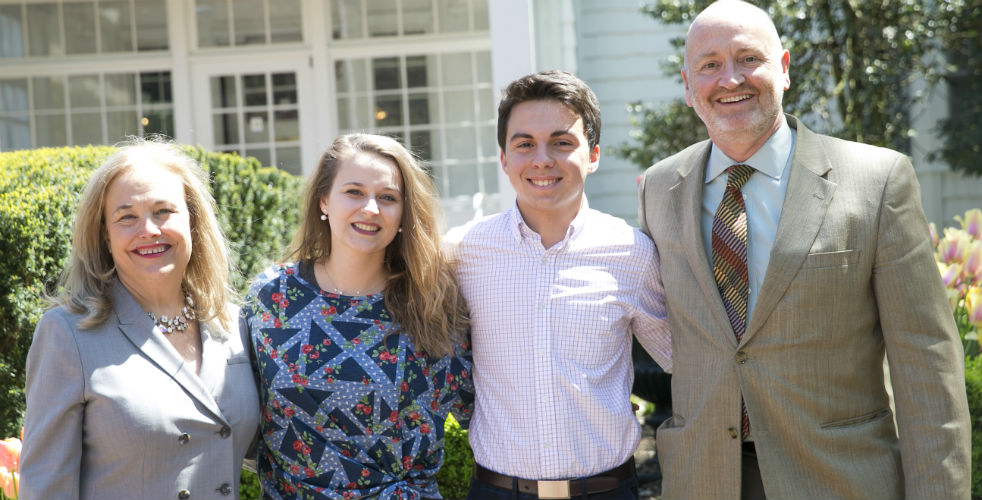 From left: Zarb School of Business Senior Assoc. Dean Gioia Bales, Resident Director Sarah Vetri, Kevin Patalano, '17, and Vice Provost for Undergraduate Academic Affairs and Fulbright Program Adviser Neil Donahue. Patalano credits Bales, Vetri and Donahue with helping him win the Fulbright grant.
