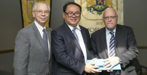 From Left: Zarb School Dean Herman Berliner, Dongbei University Chairman Benwei Du and Hofstra President Stuart Rabinowitz