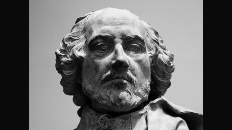 Black & white image of  William Shakespeare's head from a terrac