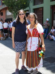 Professor Dudek and Pestano during their trip to the Canary Islands. Pestano is in the traditional garb for a festival called the Romeria of San Benito.