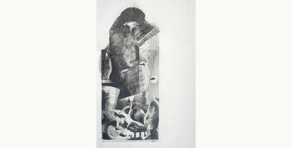 After Titian (The Martyrdom of St. Lawrence) (2017), graphite on paper, 24 x 18″