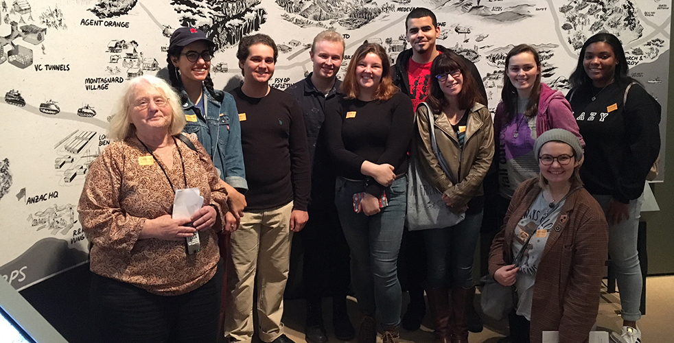 Professor Eisenberg with a group of her students at The New-York Historical Society