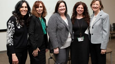 Event organizer and panelists (L-R): Lisa Martin, Mary Banahan, Pauline Walfisch, Amanda Tinkelman, and Sonia Murdock, executive director, Postpartum Resource Center of NY.