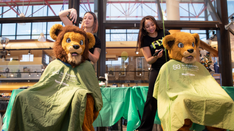 Mascots Kate and Willie (lions) posing and pretending to get their heads shaved for St. Baldrick's Foundation