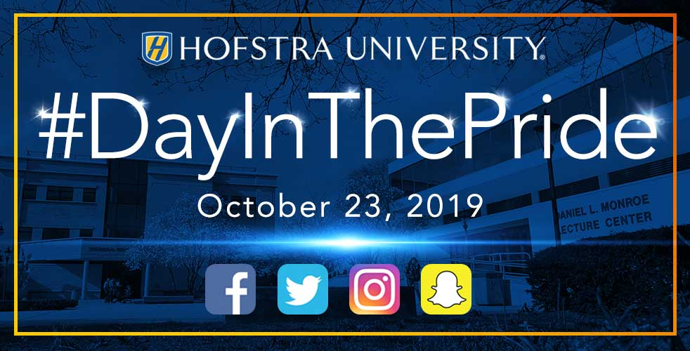 Graphic with Hofstra logo and social media logos. Text says: #DayInThePride October 23, 2019