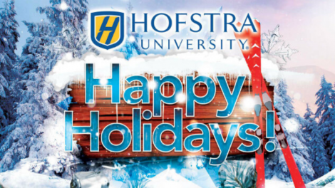 Winter graphic that shows snow, skiis, Hofstra logo, and text that says: Happy Holidays!