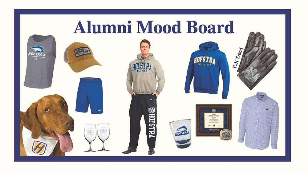 Alumni Mood Board with Hofstra merchandise